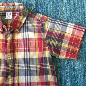 GAP Plaid Button Down Shirt Size 3 XXS EUC